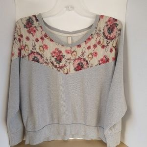 Free People Gray Oversized Floral Lace Pullover